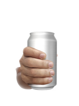 Cans aluminum of on hand isolated on a white background