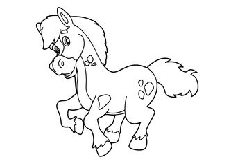 Coloring page - horse - vector coloring page - illustration for children