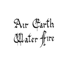 Four nature elements. Calligraphic inscription. Air, earth, water, fire. Hand drawn words. Gothic Font.