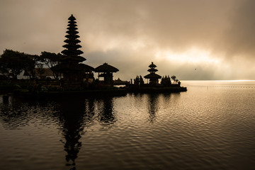 Pura Ulun Danu beratan Hindu temple at Bratan lake in morning sunrise with reflection.Famous place tourist attraction in Bali, Indonesia