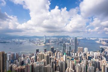 city skyline in hong kong china