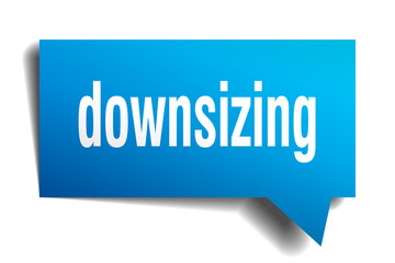 downsizing blue 3d speech bubble