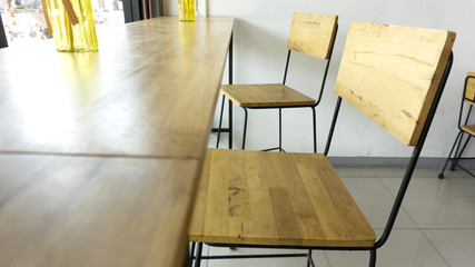 Wood Chairs and counters in the cafe restaurant, copy space..