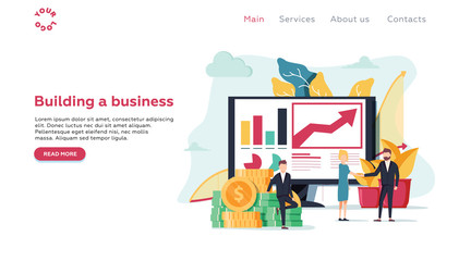 Vector illustration for web page, banner, presentation, social media, documents, cards. people are building a business