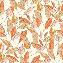 Leaves Seamless Pattern. Hand Drawn Illustration.