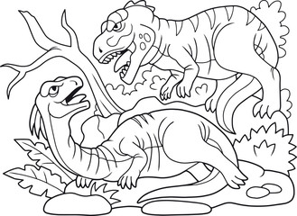 coloring book, evil carnivorous predator attacked a herbivorous dinosaur