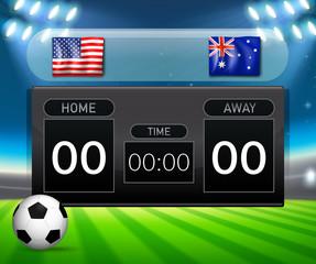 USA Vs Australia soccer scoreboard template