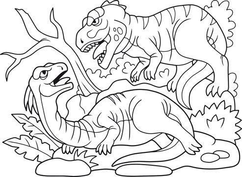 coloring book, evil carnivorous predator attacked a herbivorous dinosaur
