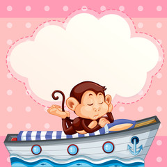 Monkey sleeping on the boat template