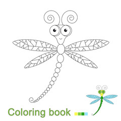 illustration of cute flying dragonfly for coloring book for children