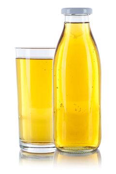Apfelsaft Saft frischer Glas Flasche freigestellt Freisteller isoliert