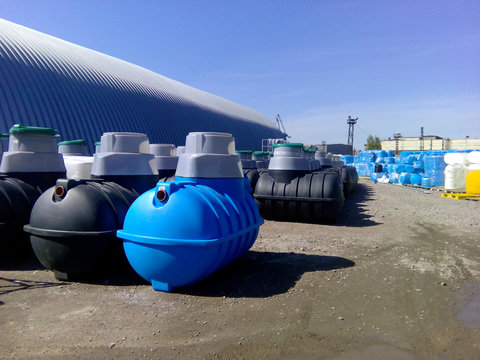 Septic tanks and other storage tanks at the manufacturer factory depot