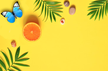 Tropical background. Palm trees branches with butterfly and seashell on yellow background. Travel. Copy space.