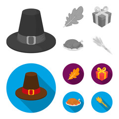 Hat of a pilgrim, oak leaf, gift in a box, fried turkey. Canada thanksgiving day set collection icons in monochrome,flat style vector symbol stock illustration web.