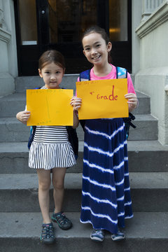 First Day of school, 1st grade and 4th grade sisters series