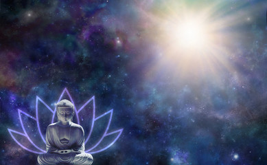 Buddhism Enlightenment Background - Buddha in seated position with a lotus flower symbol behind against a dark starry night sky with a magnificent light burst in the top right corner and copy space