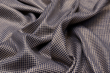 Woolen fabric with lurex and silk, blue-gray-gold cage