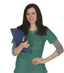 Smiling Nurse Green Scrubs
