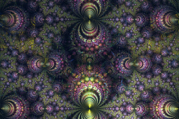 Abstrct Digital Artwork. Beautiful spherical fractal pattern.Shells made of metal. Technologies of fractal graphics.