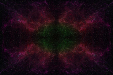 Abstrct Digital Artwork. Space with a lot of stars against the background of a large wavy nebula. Technologies of fractal graphics and rendering.