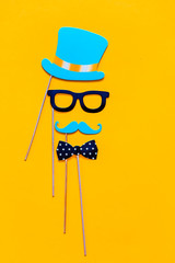 accessories made of paper, hats, glasses, masks, crowns, lips and mustaches