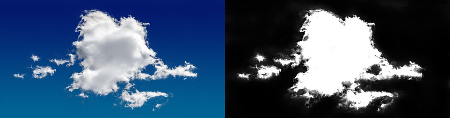 Cloud in the sky. A halftone clipping mask