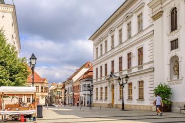 Cityscape of street in Györ, Hungary