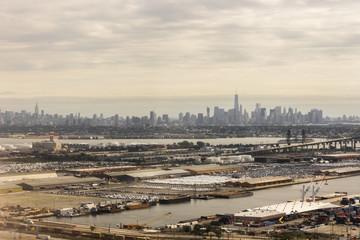 New York City. Aerial views of the Manhattan Skyline from a flight
