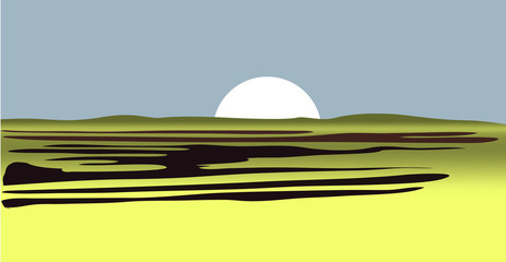 Sun from desert savannah low hills on blue background. vector illustration