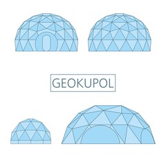 Geokupol, a spherical architectural structure assembled from rods, forming geodesic structures