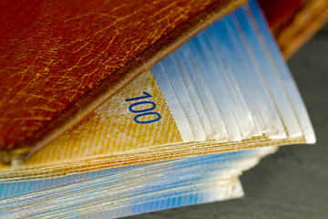 Banknotes of Swiss francs in the wallet