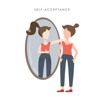 Vector illustration of self acceptance. Young woman watching at her reflection in the mirror