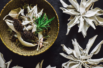 Bowl of Mixed Herbs and White Sage