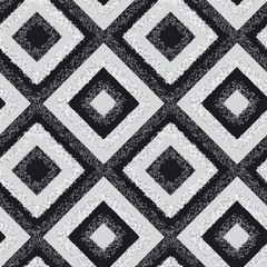 black and white rhombus carpet seamless pattern