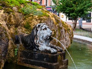 Printed roller blinds Tiger Moosbewachener Brunnen mit Löwenstatue in Voiron, Frankreich