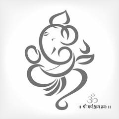 Grey silhouette of Lord ganesha
