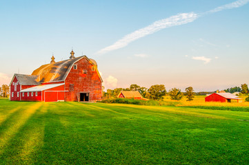 The Sun Begins To Set on a Farm in Minnesota Wall mural