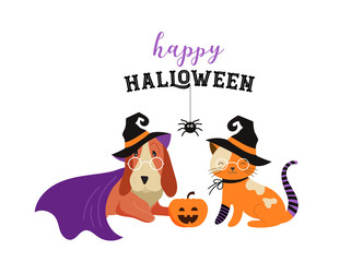 6306895 Happy Halloween - cats and dogs in monsters costumes, Halloween party. Vector illustration, banner, elements set