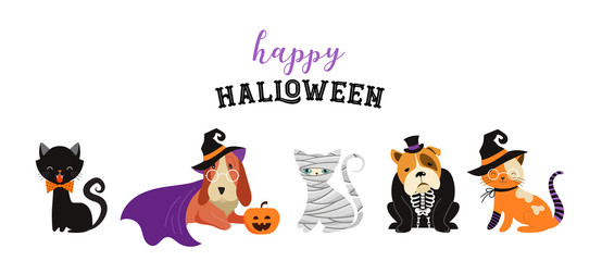 6306896 Happy Halloween - cats and dogs in monsters costumes, Halloween party. Vector illustration, banner, elements set