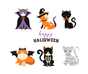 6306903 Happy Halloween - cats in monsters costumes, Halloween party. Vector illustration, banner, elements set