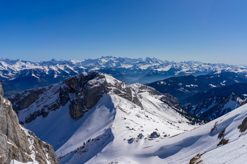 Scenery from top Mount Pilatus on a bright April Day