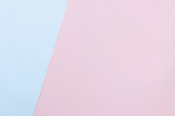 Flat lay soft pink and light blue pastel color paper geometric background, minimal concept. Design background for mock up.