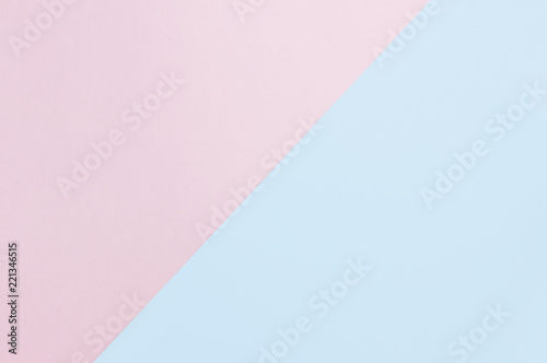 flat lay soft pink and light blue pastel color paper geometric