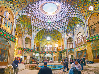 Panorama of Aminoddole Caravanserai of Kashan Bazaar, Iran