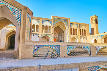 The tiled decors of Agha Bozorg Mosque, Kashan, Iran