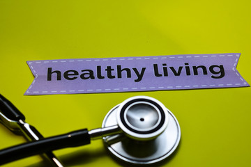 Closeup healthy living with stethoscope concept inspiration on yellow background