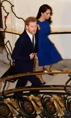 Britain's Duke and Duchess of Sussex, Prince Harry and his wife Meghan, arrive for a gala concert in support of charities for military veterans who face mental health challenges, in London