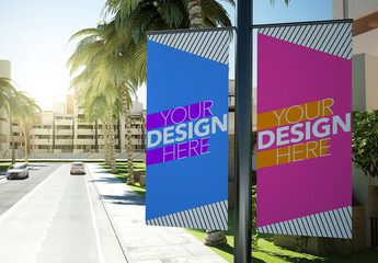 Two Vertical Lamppost Banners Mockup