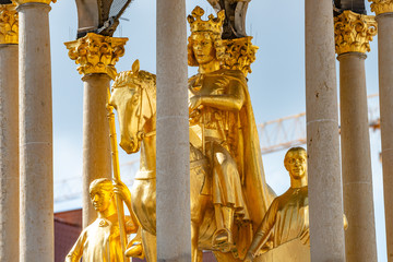 Foto auf Acrylglas Osteuropa Golden Equestrian statue of Magdeburger Reiter, King and Knight, Magdeburg, Germany,