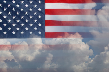 American flag and clouds